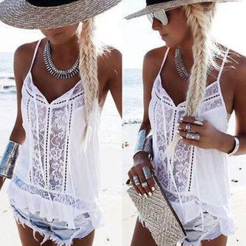 ONETOW Women loose lace vest tank tops white floral sleeveless bandage camis tops strap Women clothes