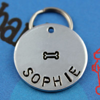 Custom Dog Tag - Metal Pet ID Tag - Hand Stamped Dog Name Tag - Personalized