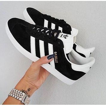 Adidas Gazelle Fashion New  Women's Black and White Sneakers Sheos Black