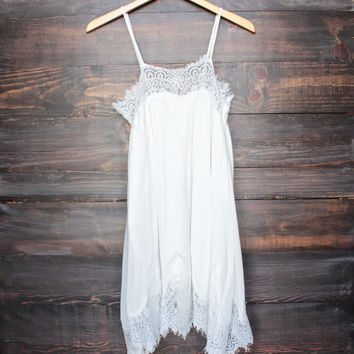 unforgetable slip dress with lace hem in white