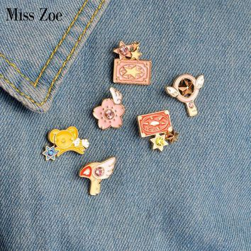 Trendy Miss Zoe 6pcs/set Card Captor Sakura Clow Card Wings Star Stick Bird KERO Brooch Denim Jacket Pin Badge Animation Jewelry AT_94_13