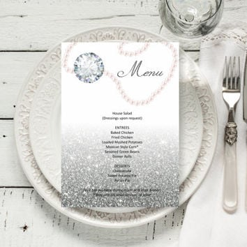 Custom Diamonds and pearls Wedding Menu, Silver glitter Elegant Wedding Menu template, digital PDF, you print, DIY