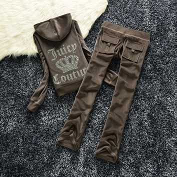 Juicy Couture Studded Logo Crown Velour Tracksuit 605 2pcs Women Suits Coffee