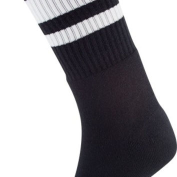 Socco Crew Black/White Socks (6-9) 1 Pair Skate Socks
