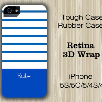 Navy Blue Stripes Monogram iPhone 6/5S/5C/5/4S/4 Case