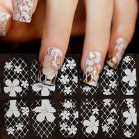 Enduring Much 3D White Lace Nail Art Tips Sticker Decal Full Wraps Glitter FINe