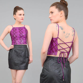 90s Purple Snakeskin Top Python Lace Up Open Back Top Club Kid Rave Stretchy Crop Top Small XS S