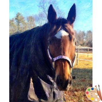 Brown Horse Portrait Painting 608