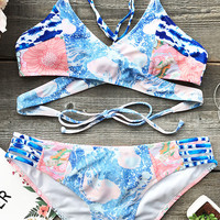 Cupshe Aegean Sea Cross Bikini Set