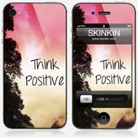 iPhone 4 skin - Skinkin - Original Design : Think positive by Louise Machado