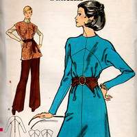 Vogue 8371 Sewing Pattern 70s Dress Tunic Pants Dolman Sleeves Colorblock A-line Retro Boho Style Uncut Bust 38