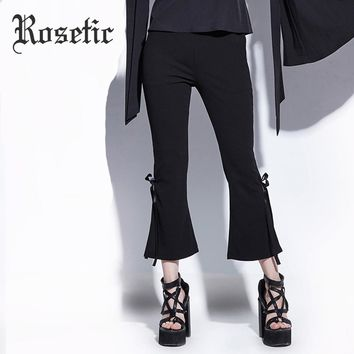 Flare Pants Black Ankle-Length Bowknot Bellbottoms Trousers Office School Goth Flare Pants