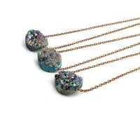 Rainbow Druzy Necklace - Druzy Quartz Necklace - PREORDER