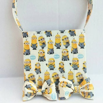 Minions Purse with matching hair bows - Girls Tote Bag - Kids Duct Tape Purse