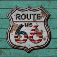 Route 66 Green Background Decorative Sign Tag License Plate
