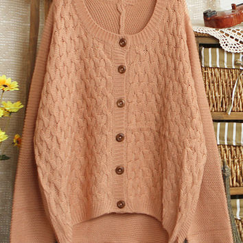 Pink Elbow Patch Long Sleeve Sweater
