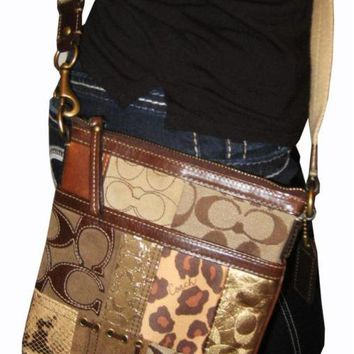 55032b5bf6 RARE COACH PATCHWORK QUILTED MESSENGER CROSSBODY BAG PURSE BROWN ANIMAL  PRINTS