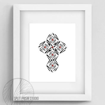 Original Art Print, Geometric Print, Art, Digital File, Wall Art, Black and White, Abstract, Modern Art, Instant Download, Cross, Spiritual