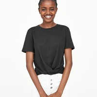 T - SHIRT WITH KNOTTED FRONT-Short Sleeve-T-SHIRTS-WOMAN | ZARA United States