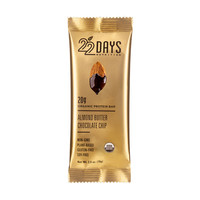 22 Days Nutrition Organic Protein Bar - Almond Butter Chocolate Chip - 2.6 oz Bars - Case of 12