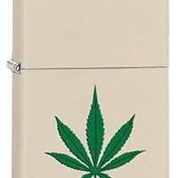 Zippo Custom Lighter: Weed Leaf - Cream Matte 79014