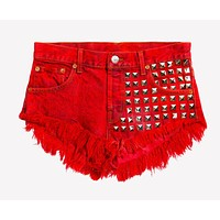 902 Rouge Studded Babe Shorts - Limited