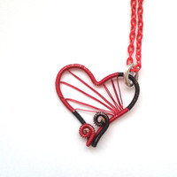 Heart Necklace, Wire Wrapped Red And Black Heart Pendant, Wire wrapped Unique Jewelry, Handmade Jewellery, Gift For Her,  Unique Gift Ideas