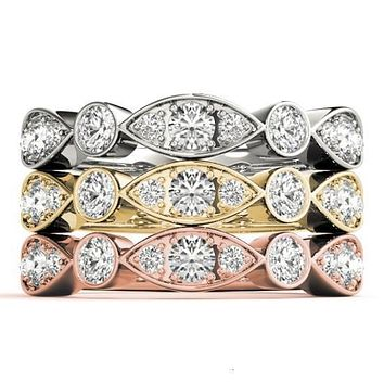 Stackables 1/2 Eternity Tri-Tone Gold Triple Diamond Marquise Bezel 3-Band Set Selectables