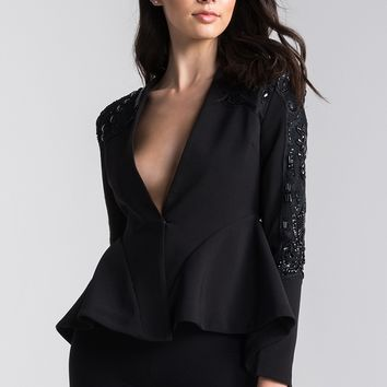 AKIRA Beaded Sheer Back Waterfall Shoulder Pad Blazer in Black