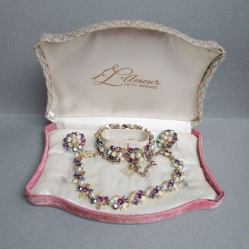 Mint In Fitted BOX! 1950's Vintage L'Amour Purple AB Rhinestone & Faux Pearl FLOWER Necklace, Bracelet, Earrings Set Parure