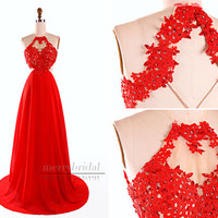 Amazing Sexy Red Appliques Halter Chiffon long prom dresses/Sexy open back long dress/Formal evening party dress/Sexy women's dresses EM836