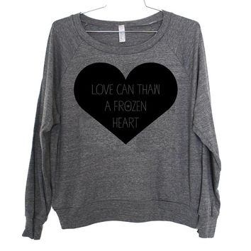 Frozen Heart Lightweight Raglan Pullover - American Apparel Ladies Sizes S, M, L