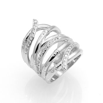 925 Silver White Gold Plated Wedding Jewelry Rings For Women Crystal Engagement Silver Zircon CZ Diamond Ring Anillos