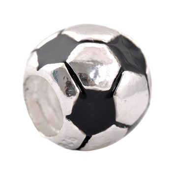 Free Shipping Silver Plated Bead Charm European Cute Football Beads Fit Women Pandora