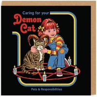 Caring For Your Demon Cat Retro Card - LAST ONE!