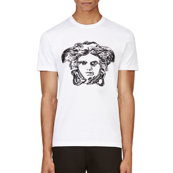 Versace White Embroidered And Beaded Medusa Logo T-shirt