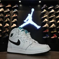 "Best Deal Online Nike Air Jordan 1 Mid ""Hyper Jade"" Women Sneaker 554725-122"
