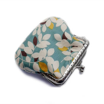 Fabric Coin Purse - Kiss Lock Purse - Framed Clutch Purse - Silver Frame - Medium size