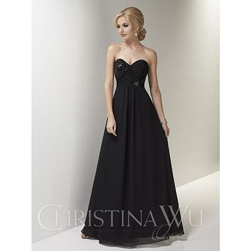 Christina Wu Occasions 22687 Strapless Full Length Sequin Chiffon Bridesmaid Dress