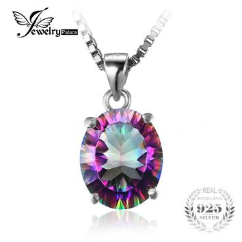 Genuine Rainbow Fire Mystic Topaz Concave Oval Pendant Solid in 925 Sterling Silver Without the Chain