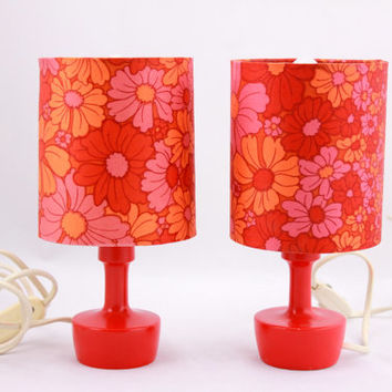 Vintage 70s PAIR of TABLE LAMPS Psychodelic Flower Power Pattern