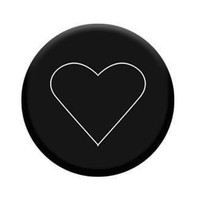 Black and White Heart Round Phone Holder