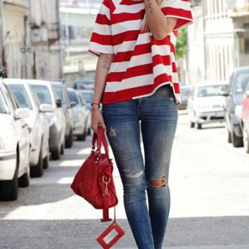 Casual Striped Pattern T-Shirt