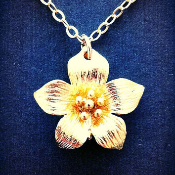 Gold Poppy Flower Necklace, Bridesmaids Jewelry