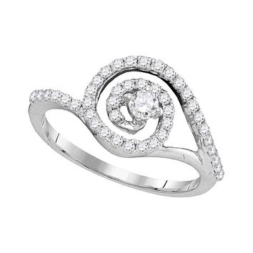 10kt White Gold Women's Round Diamond Solitaire Swirl Bridal Wedding Engagement Ring 1/2 Cttw - FREE Shipping (US/CAN)