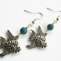Angelfish Earrings, Turquosie Earrings, Beach Earrings, Angel Fish Earrings, Nautical Inspired, Fish Jewelry, Aqua & Silver