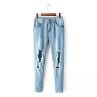 Denim Ripped And Frayed Button Zippered Pants
