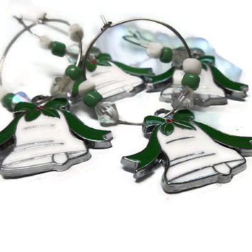 Christmas Bells Wine Charm Rings Napkin Rings Home Decor Green Christmas Ornaments