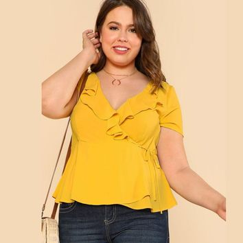 Yellow Plus Size Ruffle V Neck Wrap Top Blouse