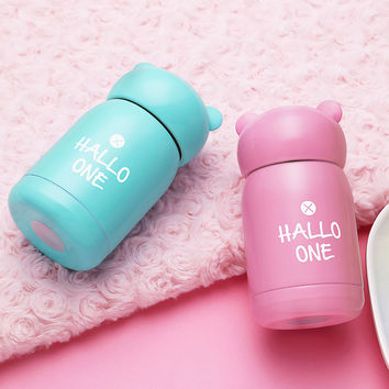 Bear ear cap of bottle Cups 304 stainless steel vacuum mug cute mini cup for child drink insulate